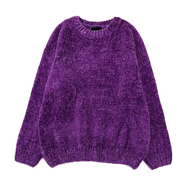 Chic Vintage Chenille Cashmere Women Full Sleeve Gold Velvet Sweaters Winter Ladies Solid Color O-Neck Loose Female Jumpers 2020