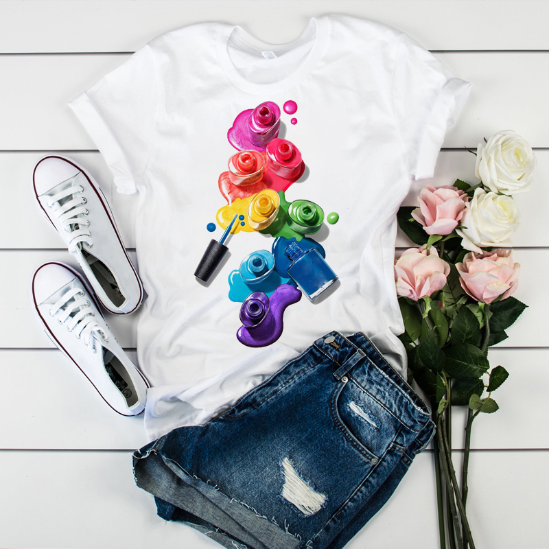 Women Color Painting Fashion 3D Printed Casual Short Sleeve Tees Tops Graphic Female Ladies Womens Lady T-Shirt T Shirt T-shirts