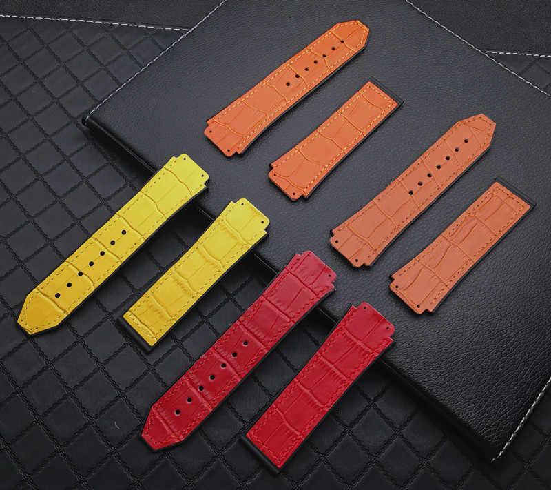 Colorful 25*19 Mm Kulit Asli Karet Silicone Gelang Jam Butterfly Gesper untuk Hublot Strap untuk Big Bang Belt Klasik fusion Alat