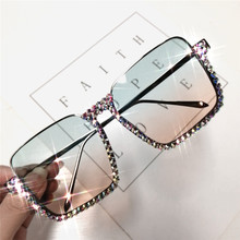 ORELDIA Diamond Sunglasses Women Fashion Half Rimless Half Crystal Frame Transpa