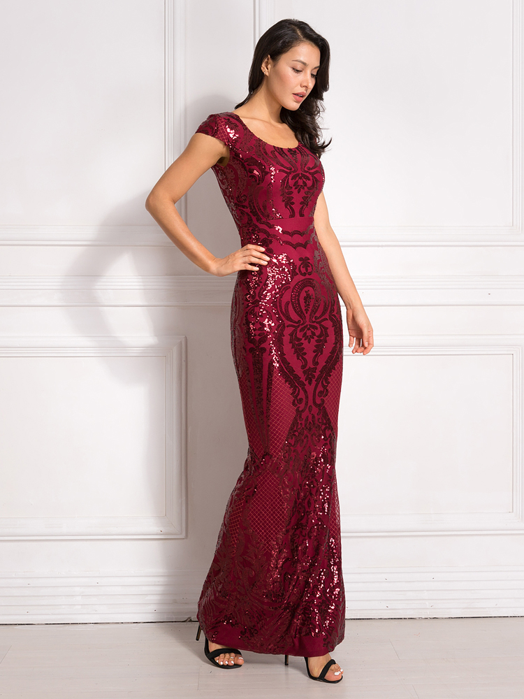 Burgundy Sequined Evening Party Dress Cap Sleeve Floor Length Stretchy Maxi Dress 2019 Autumn Winter 11