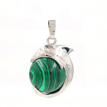 FYJS Unique Silver Plated Lovely Dolphin Shape with Malachite Stone Round Bead Pendant for Christmas Gift