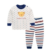 New Autumn Baby Tops+Pants Sleepwear Pajamas Kids Girls Boys Cartoon Print Outfits Set Long Sleeve babe Blouse 0-6T toddler kids pajamas long sleeve red set baby boys girls striped outfits christmas baby sleepwear set