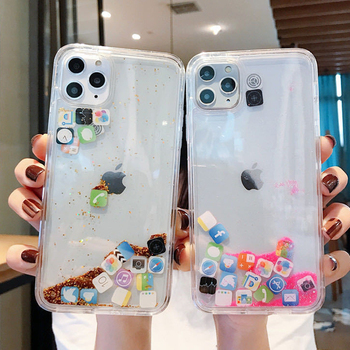 Dynamic Quicksand Cover For iPhone 11 Pro Max Liquid Hard Phone Shell For iPhone 6 7 8 Plus X XR XS MAX Cute apps icon Case Capa quicksand capinha case for iphone 7 8 6s plus makeup cosmetics dynamic liquid hard back cover for iphone x xr xs max capa ipone