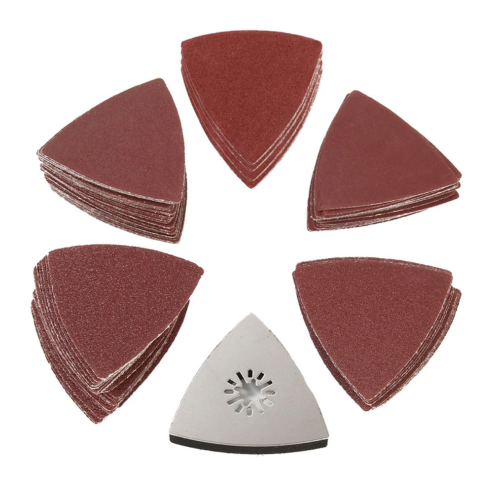 80mm Red Triangle Sanding Disc Sheet Sandpaper Pads Hook Loop Grit Wet and Dry