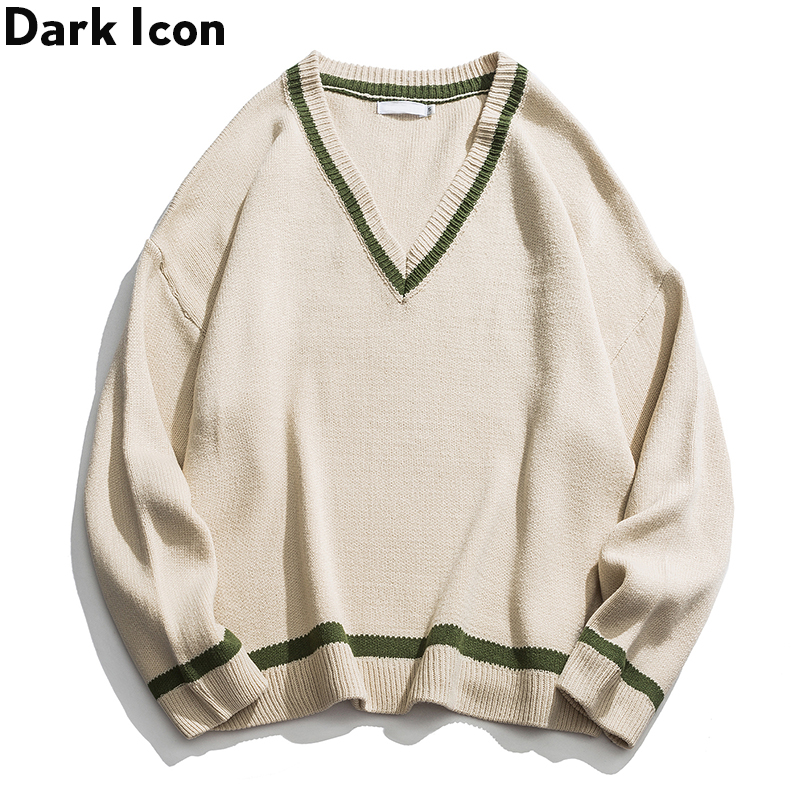 Dark Icon Color Contrast V-neck Hip Hop Sweater Men Pullover Oversized Street Men's Sweater