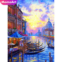 MomoArt Diamond Embroidery River Painting Landscape Mosaic Full Drill Square Cross Stitch Wall Decoration