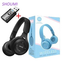 M6 Wireless Headphones Foldable Stereo Bass Bluetooth Headset Kids Girl Helmet Gift,with Mic USB Bluetooth 5 Adaptor For TV Game