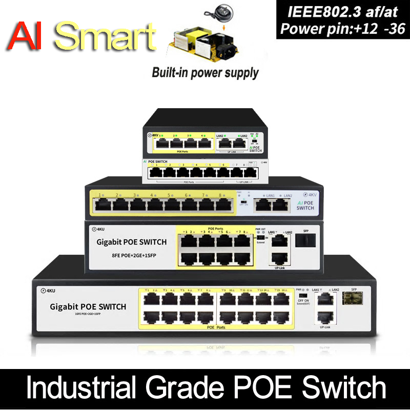 4 port 48V POE switch Ethernet Switch with IEEE 802.3 af/at Suitable for IP camera/Wireless AP/CCTV camera system