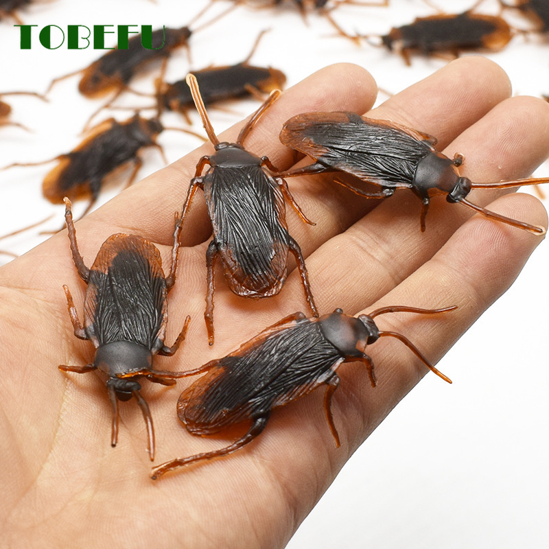 5Pcs Halloween Gadget Plastic Cockroaches Joke Decoration Props Rubber Toy Gags Practical Jokes Toys Plastic Bugs Cockroach