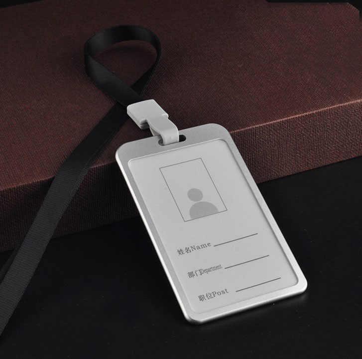 1 Pcs ขายร้อนโลหะผู้ถือบัตรธุรกิจ Security PASS: ผู้ถือ Lanyard อุปกรณ์สำนักงานทำงาน BUS ผู้ถือบัตร