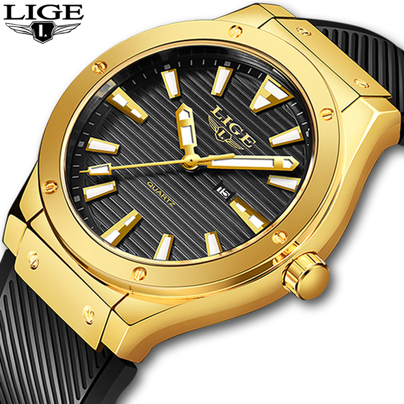 LIGE Fashion Mens Watches Silicone Strap Men's Military Sport Watch For Men Waterproof Gold Watch Quartz Clock Relogio Masculino