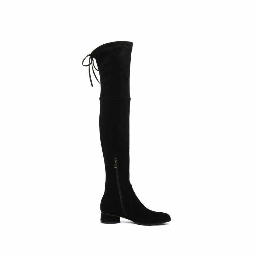 QUTAA 2020 Vrouwen Over De Knie Laarzen Lederen Flock Lace Up Rits Lange Laarzen Vierkante Hak Winter Vrouwen Schoenen maat 34-39