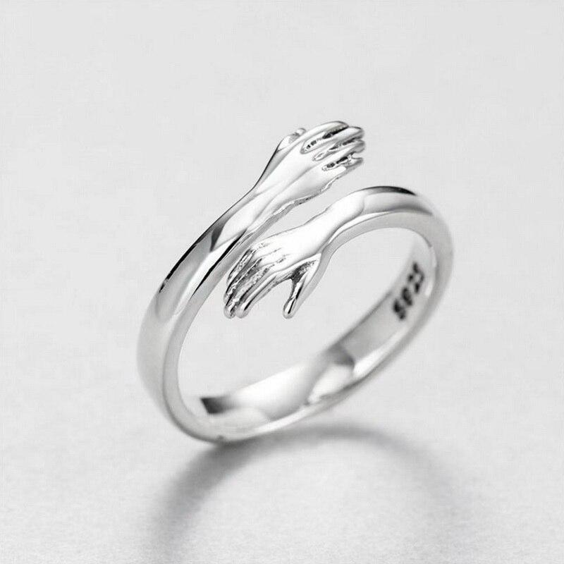 Новый Романтический ручной работы с любовью Hug Кольца Творческий Регулируемый любовь навсегда открытый палец кольцо на руку, для женщин и м...