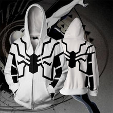 White Clothing Black Spider Cosplay Costume Long Sleeve Spring Autumn New Sweatshirts Plus Size 3XL 4XL 5XL Loose Hooded Sweater