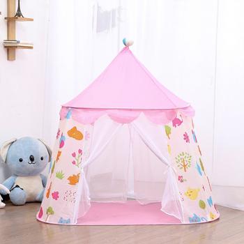 Kid zamek księżniczki namiot niemowlę w pomieszczeniu pokój tipi dziecko na zewnątrz dom zabaw maluch namiot do gry przenośne składane namioty dziecięce tanie i dobre opinie Little J Poliester Keep Away From Fire 0-12 miesięcy 13-24 miesięcy 2-4 lat 5-7 lat 6 lat 8 lat 3 lat 3 lat