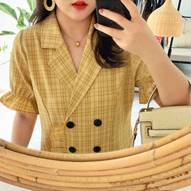 Lose Plaid Kleid Frauen Plus Größe XL-4XL Große Fett Büro Blazer Kleider Kurzarm Weibliche Sommer Lotus Blatt Party Strand kleid
