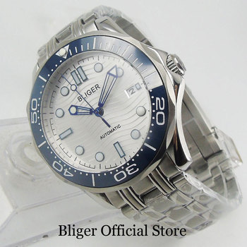 цена на BLIGER New Arrival 41mm Sapphire Glass Stainless Steel Self Winding Men Wristwatch MIYOTA Movement Mental Strap