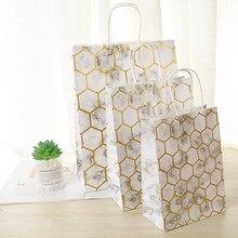 10Pcs Bronzing marmoriert Festival Geschenk Tasche Kraft Einkaufen Taschen DIY Multifunktions Recycelbar Papiertüte Mit Griffen