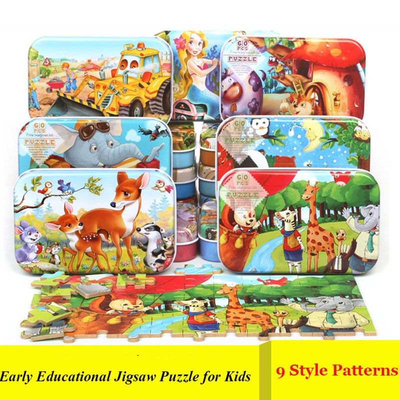 TD ZW New 60 Pieces Wooden Puzzle For Children 3D Puzzles 2-10 Year Baby Early Educational Toys Jigsaw Puzzle Mini Iron Box