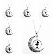 2019 Hot Sale Glass Cabochon Handmade Wing Girl Ballet Dancer Silhouette Moon Shape Ladies Pendant Necklace