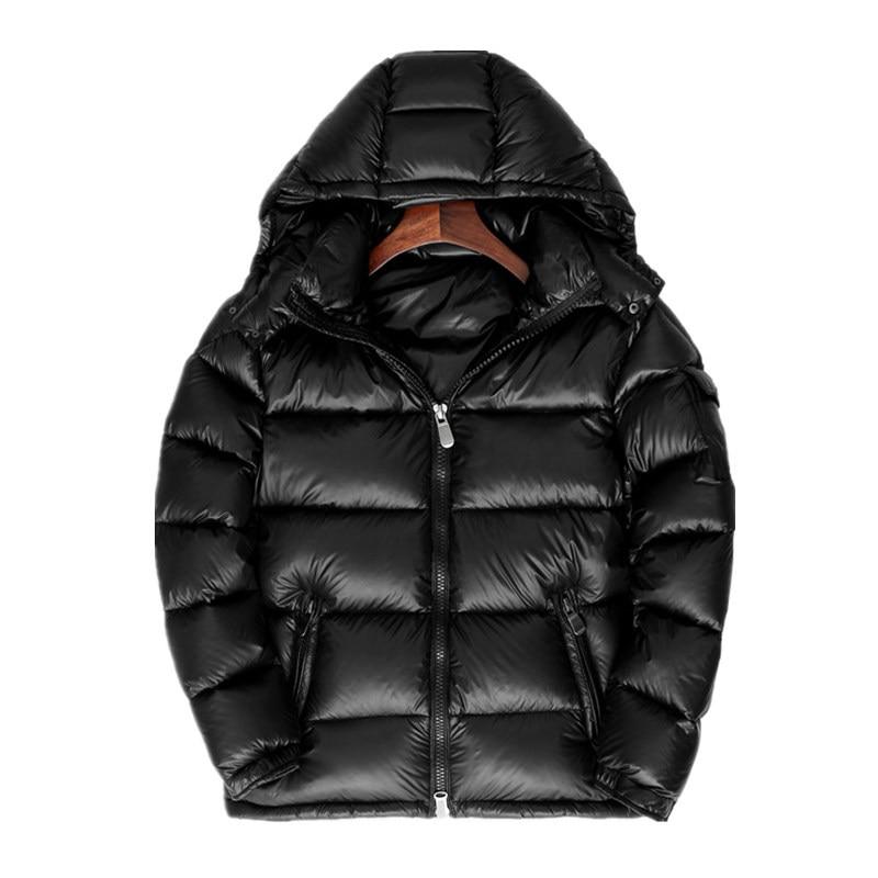Winter Down Jacket Men And Women Thick Short Couple Clothes Bright Surface Men'S Wear Plus Velvet Warm Thick White Duck Down Coa