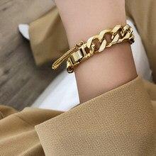 AENSOA – Bracelet de chaîne à maillons cubains pour hommes et femmes, bijoux de poignet unisexe, Simple, couleur or argent, pendentif de chaîne minimaliste