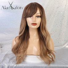 ALAN EATON Synthetic Ombre Brown Wigs Heat Resistant Long Wavy Women Cosplay