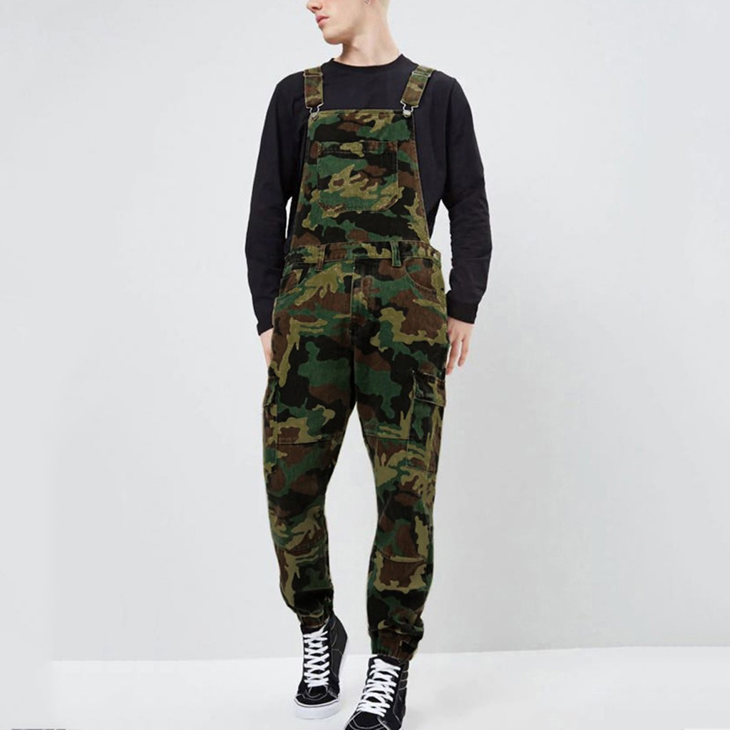 SAGACE Camouflage Mens Jeans Wash Overall Jumpsuit Streetwear Pocket Suspender Pants Trousers Relaxed And Versatile Hot Sale