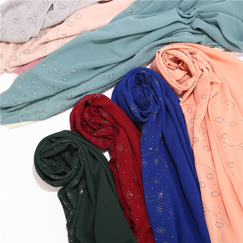 Hijab Scarf Solid Color Malaysia Headscarf Long Scarf Pearl Chiffon Muslim Shawls Wrap Glitter Rhinestone Small Tree Leaves
