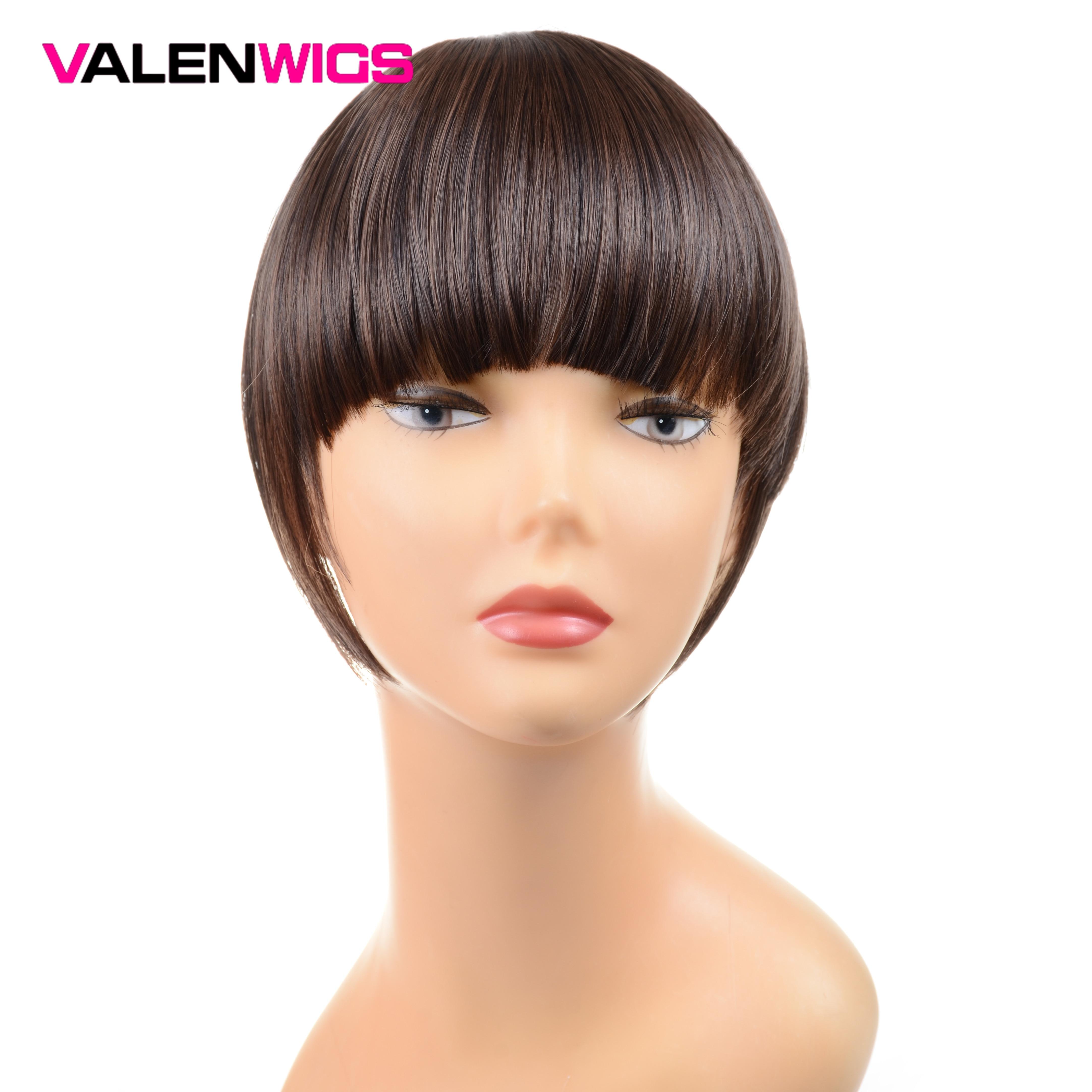 Valentwigs 6 false franja falsa grampo de cabelo em franja uma peça staight extensões de cabelo sintético frente puro franja cor pura para mulher