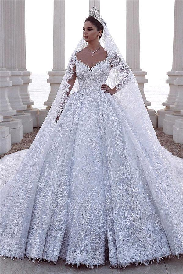 Luxury Wedding Dress Princess 2020 Strapless Beading Wedding Gowns Sweatheart Dress Wedding Robe De Mariee