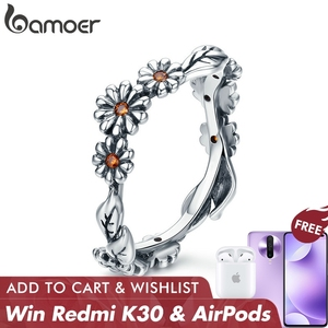 Image 1 - BAMOER Hot Sale 100% 925 Sterling Silver Twisted Daisy Flower Female Finger Rings for Women Wedding Silver Jewelry Anel SCR298