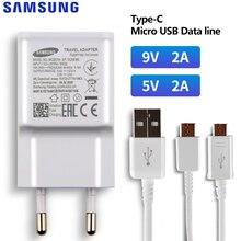 SAMSUNG orijinal 5V/2A 9V/2A telefon şarj için Samsung Galaxy S8 S9Plus not 9 8 a50 A7 S5Mini S4 S6 S7 tip c mikro USB kablosu