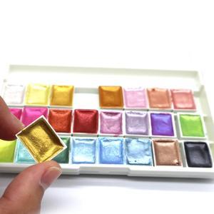 Image 2 - سيميارت 24 لون لامع مجموعة ألوان مائية أكواريلاس ذهبي معدني أكواريلا صبغ رسومات فنية ألوان مائية لوازم فنية