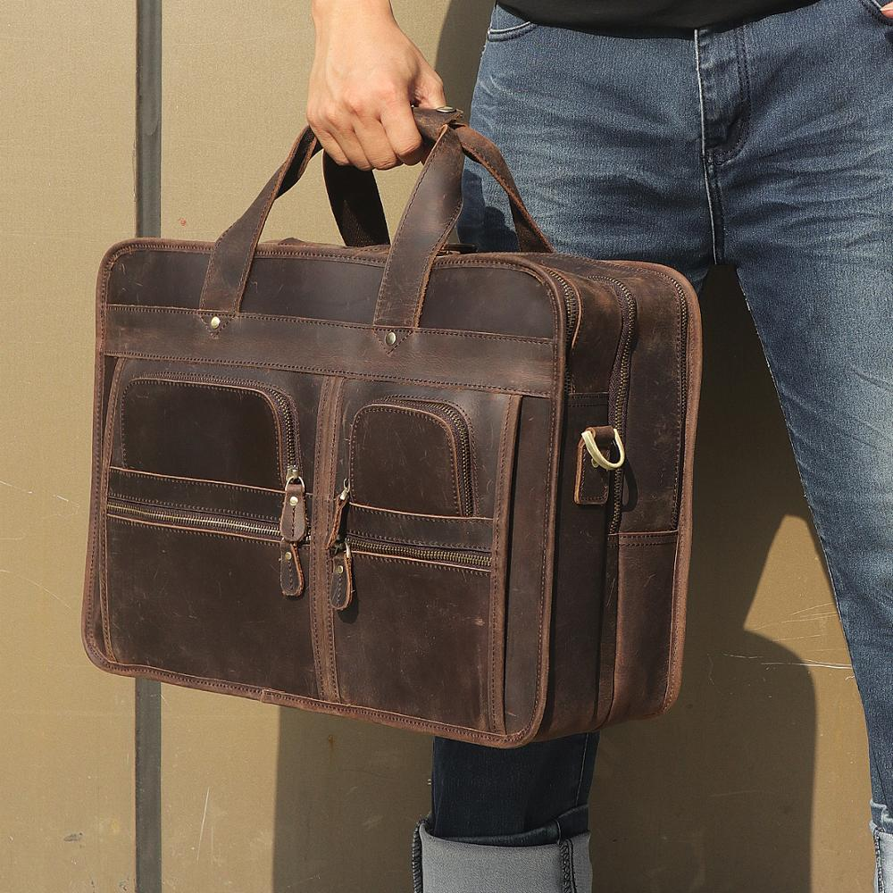 Nesitu Black Brown Genuine Crazy Horse Leather 15.6'' 17'' Laptop Office Men Briefcase Business Travel Messenger Bags Portfolios