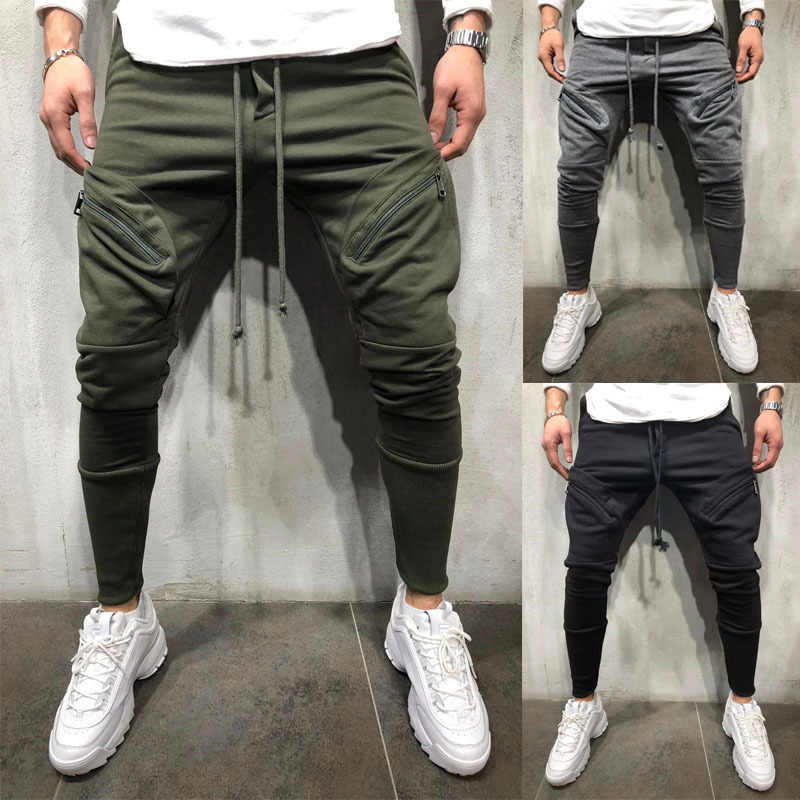 Men Business Casual Cotton Slim Straight Trousers Spring Summer Long Pants Multi-pocket zip-up sweatpants jogging pants