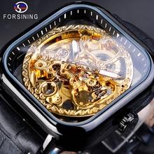 Forsining Full Black Square Mechanical Watch Men's Automatic Skeleton Analog Genuine Leather Strap Wrist Relogio Clock Dropship цены онлайн