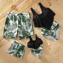 Off-shoulder Flounce Leaf Print Matching Swimsuits lace shoulder flounce trim tailored jumpsuit