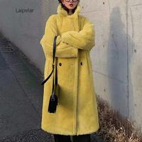 2020 White Faux Fur Coat Women Teddy Coat Kawaii Long Pink Fur Coat Chic Winter Coat Women Elegant Teddy Bear Coat Fur Jacket