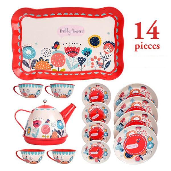 Cartoon-muster Metall Simulierte Teekanne Teetasse Set Nachmittag Tee Weißblech Spielzeug Pretend Spielen Spielzeug Für Mädchen Kid Spielzeug