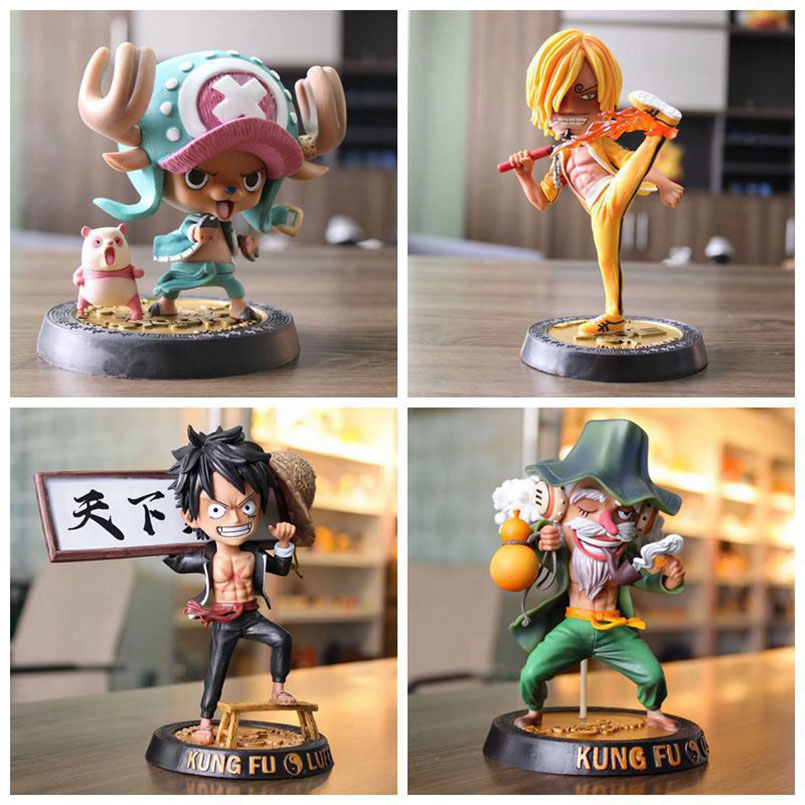 19cm japanese anime kung fu one piece Luffy Sanji Chopper Usopp PVC action figure toys collectible car Decoration Toys kid gift