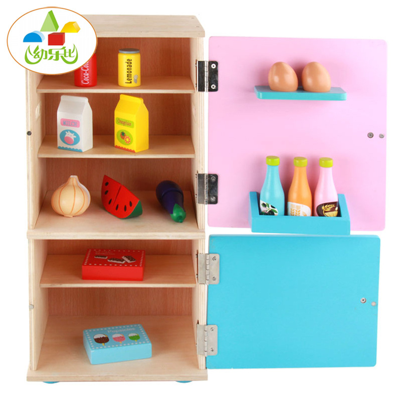 New Style Children ENLIGHTEN Wood Kitchen Furniture CHILDREN'S Play House Multicolor Large Double Door Refrigerator Disassembly