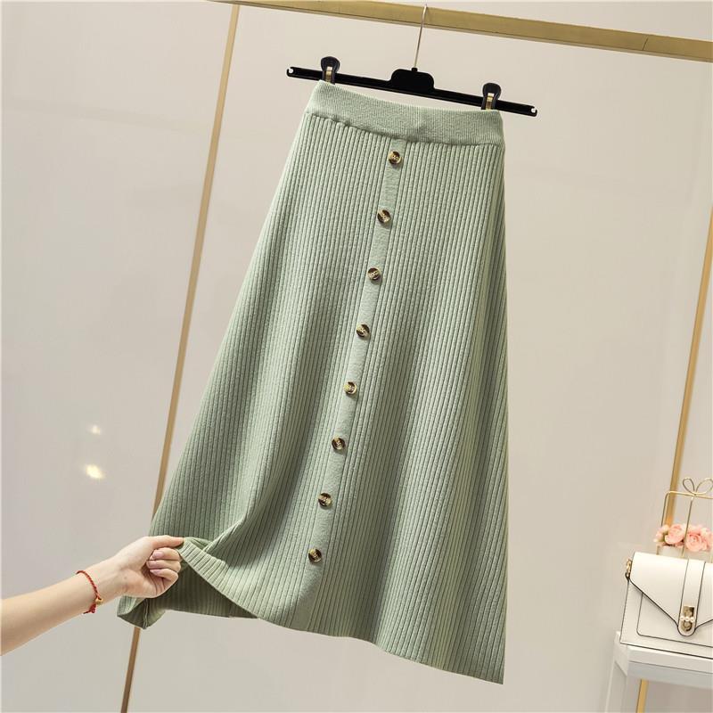 Women Thick Sweater Skirt 2019 Elastic High Waist Pleat Midi Knitted Skirt A-line Female Solid Elegant Skirts Knit Skirt Female