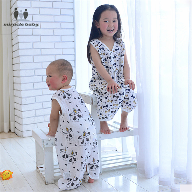 Cotton Unisex Baby Sleeping Bag Gauze Soft Children's Sleepwear Baby Sleeveless Vest  Infant Split Leg Kick-proof Sleepsacks