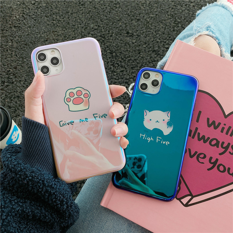 Cute Cartoon <font><b>Cat</b></font> Phone <font><b>Case</b></font> For <font><b>iphone</b></font> 7 <font><b>8</b></font> plus X XR XS Max 11 Pro Max Cover Fashion Blu-ray Laser Soft Back <font><b>Cases</b></font> Couple Funda image