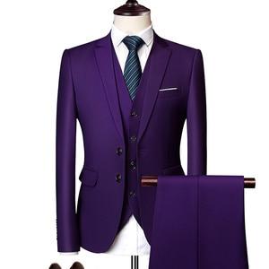 Image 5 - 純粋な色の男性のフォーマルなスーツファッションビジネスカジュアル宴会男性のスーツのジャケット + ベスト + パンツサイズ6XL 2/3ピース結婚式のためにスーツ