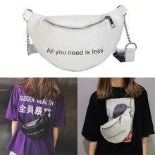 1PC Womens Waist Bag Solid PU Bag Belt Purse Chains Female Fashion Zipper Small Purse Phone Key Pouch Chest Bag