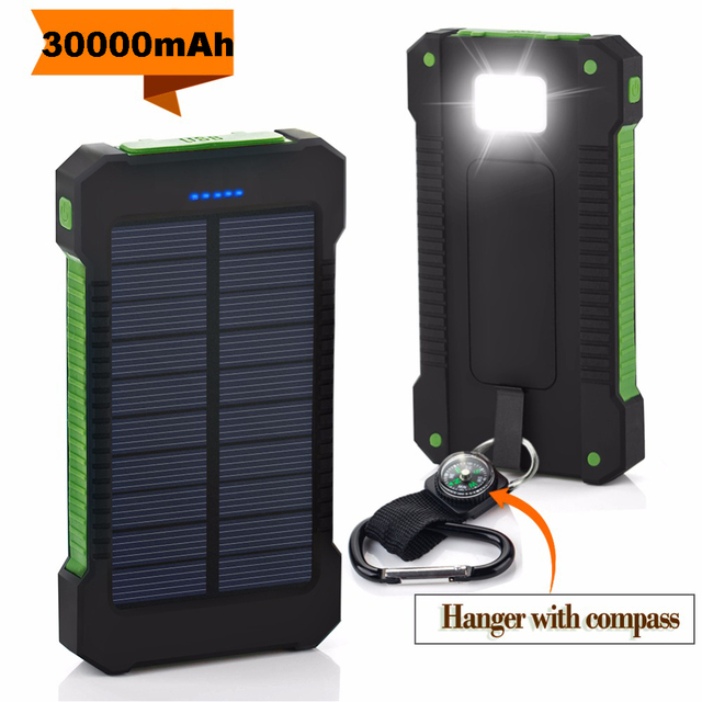 Solar Power Bank 30000mAh Dual USB Waterproof Solar Charger Power Bank Portable External Battery Pack Powerbank with LED Light 2