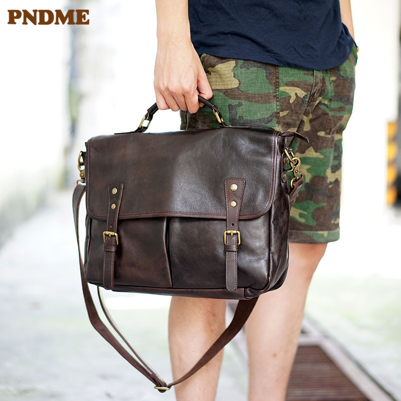 PNDME Fashion Vintage Genuine Leather Men's Briefcase Business Casual High Quality Luxury Soft Real Cowhide Laptop Shoulder Bag